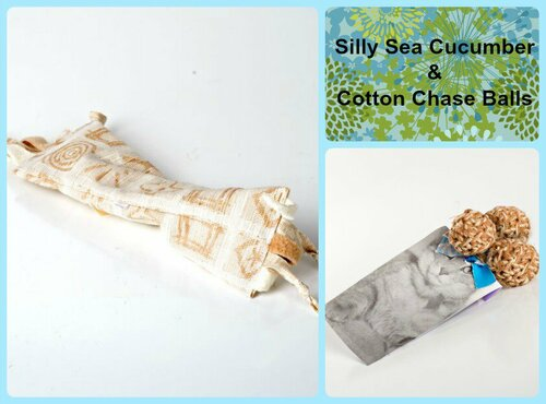 Larger gift bag for cats.  Includes silly organic catnip sea cucumber and organic cotton chase toys.  100% natural cat toys, made in the USA.
