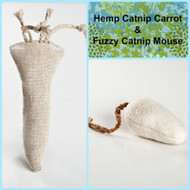 Small gift bag for cats.  Includes hemp catnip carrot and medium fuzzy catnip mouse.  100% organic natural cat toys, made in the USA.
