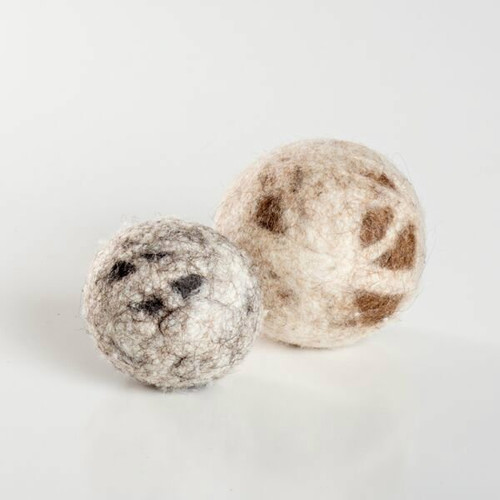 Organic wool cat toys.  Natural cat balls made in the USA. They come in two sizes: medium and large. Purrfectplay.com