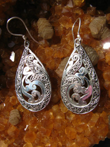 Sterling Silver Tear Drop Dangle Earrings with Scroll Work, Fair Trade