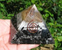 "Black Tourmaline & Selenite Orgonite 2"" Pyramid, Clearing"