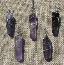 Amethyst Double Terminated Hexagon Wire Wrapped Pendant