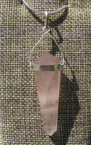 Rose Quartz Double Terminated Hexagon Pendant with a Swing Setting