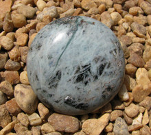 ROUND BLUE GREEN KYANITE ~ POLISHED DISK~PALM SIZE~REMOVES BLOCKS 2292