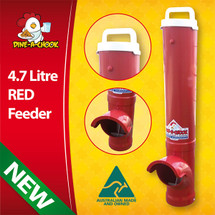 Chickens love RED things. So why not get a RED Chicken Feeder. The Dine a Chook Waste-Reducing technology may reduce rodents and wild birds in your chook pen.