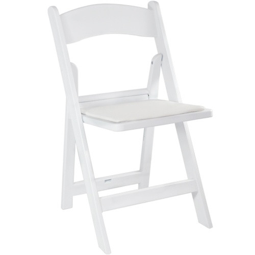 white resin folding wedding chair | padded folding chairs for sale