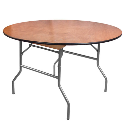 4 ft. round wood folding banquet table | folding tables