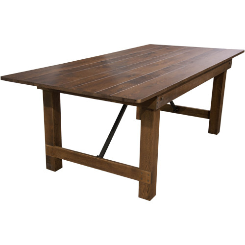 Wooden C Tables ~ Barn wood brown farmhouse table wooden folding