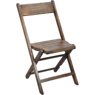 Slatted Wood Folding Wedding Chair - Antique Black [WFC-SLAT-AB]