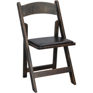 Antique Black Wood Folding Wedding Chair | Padded Wedding Chairs For Sale