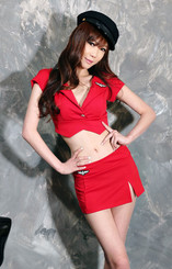 School Police Woman Costume Red