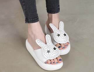 White Bunny Star Slippers