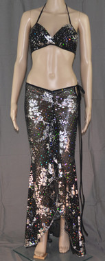 Silver Flowers Bling Bra and Long Dress