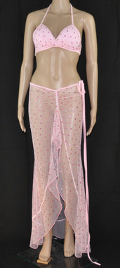 Pink Hearts Bra and Long Dress