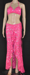 Pink Flower Bling Bra and Long Dress