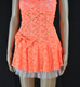 Orange Flower Bow Strapless Dress