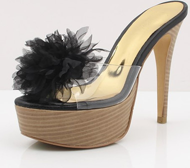 Petal Toe Beauty Heels Black