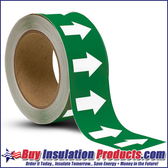 Green/White Arrow Roll for Pipe ID Labels