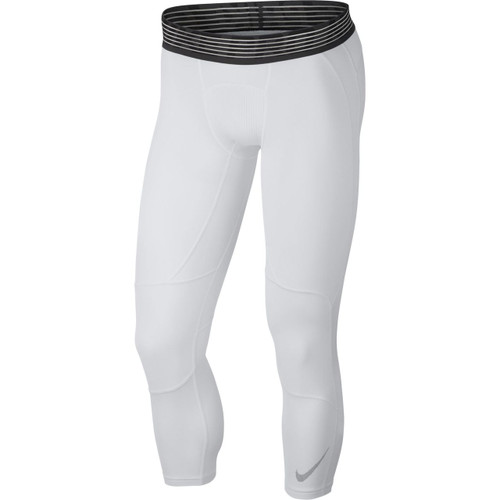 Nike Men's Pro 3/4 Basketball Tights - White/Black