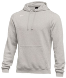 Nike Men's Club Fleece Pullover Hoody - Dk Grey Heather/White