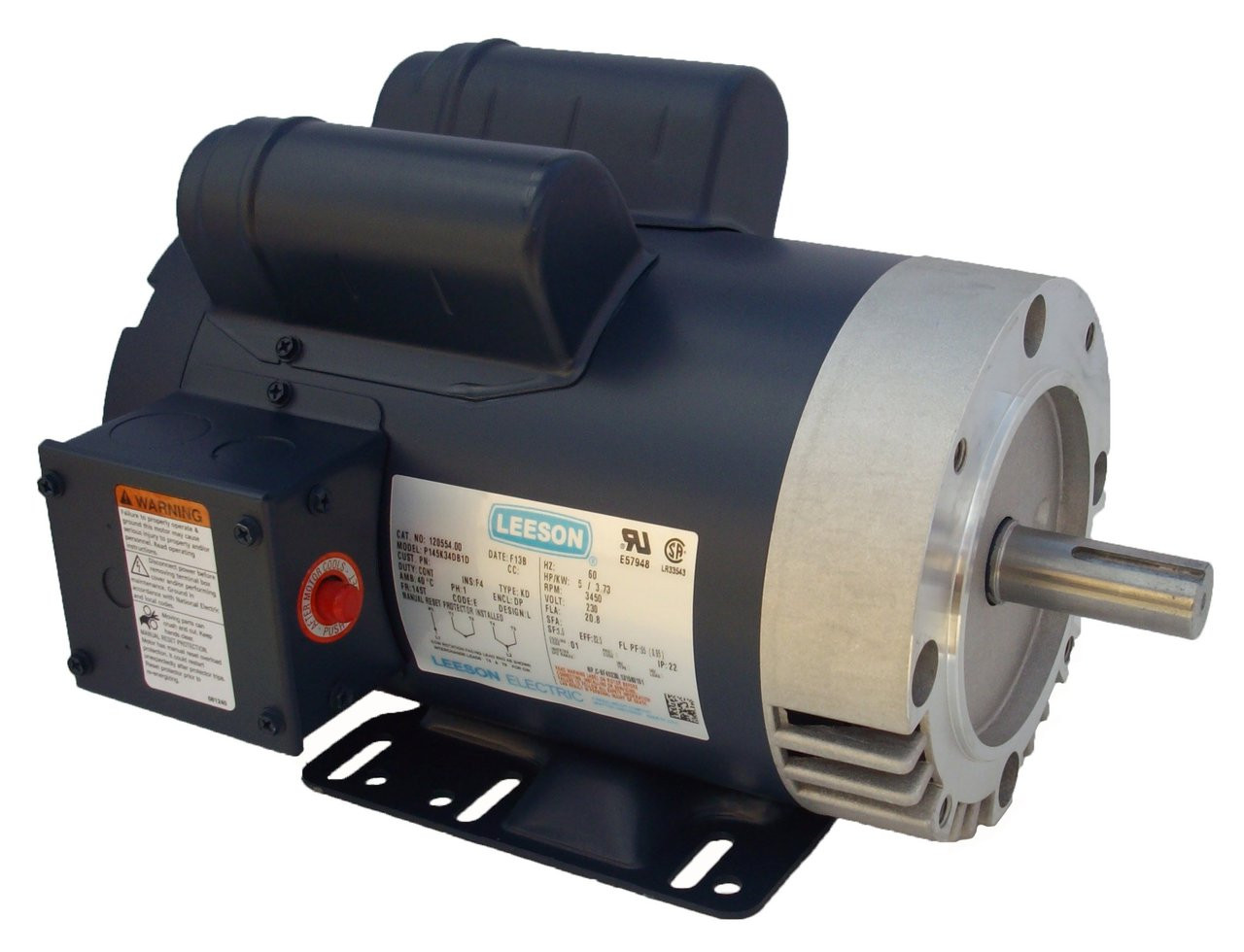 5 hp 3450 RPM 145TC 230V Woodworkers Dust Collector Electric Motor ...