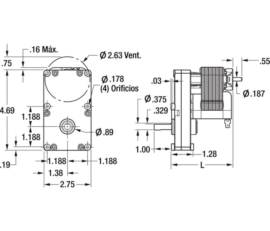 dayton model 1lng1 gear motor 3 8 shaft 52 rpm 1 50 hp 115v 6z909 rh electricmotorwarehouse com 115 Volt Motor Wiring Diagram 230 Single Phase Wiring Diagram