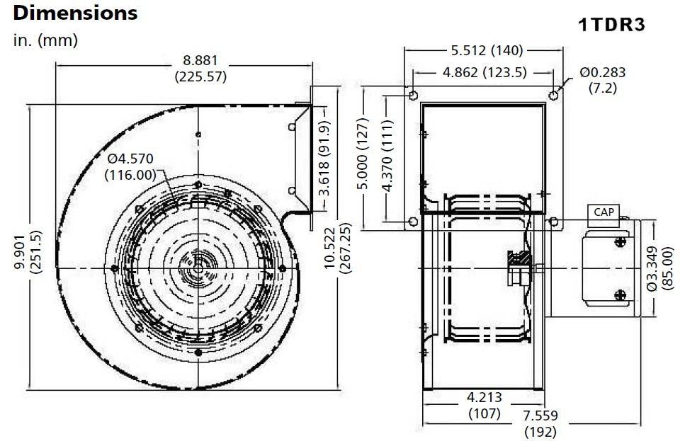 dayton model 1tdr3 blower 273 cfm 1640 rpm 115v 60 50hz 4c447 rh electricmotorwarehouse com AC Motor Wiring Diagram Blower Motor Wiring