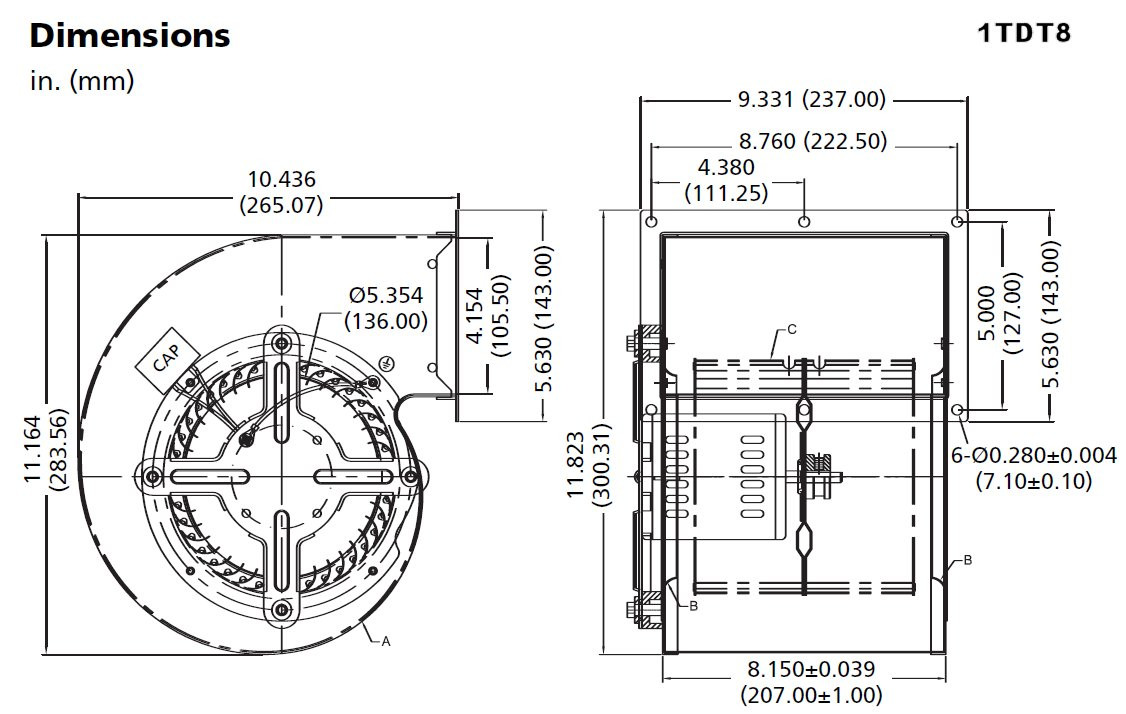 Dayton 1tdt2 Blower Motor Wiring Diagram Wire Center Blowers Model 1tdt8 797 549 Cfm 2 Speed 1360 Rpm 115v 60 50hz Rh Electricmotorwarehouse Com Furnace Fan Capacitor