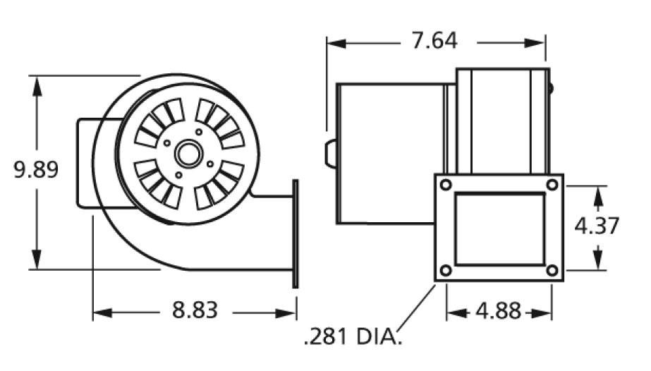 centrifugal blower 4c447 1tdr3 pu 4c447 115 volts fasco b45227 rh electricmotorwarehouse com Air Conditioner Wiring Diagrams Blower Fan Wiring