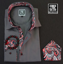 Pewter Grey over Black, Red & Grey paisley