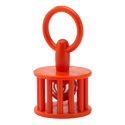 "Remo Kids Make Music Instrument, Baby Bell Rattle, 2.5"" x 4.75"", Hard Plastic, Chrome Bell, Loop Handle, Orange"