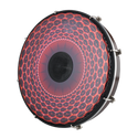 """REMO Tablatone Frame Drum, Tunable, SKYNDEEP¨ Clear Tone P3 Drumhead, 'Red Radial Flare' Graphic, 12"""" x 2"""", Antique Brown And White Finish"""