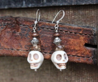 White Turquoise Skull Bohemian Earrings