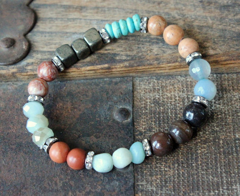 Mixed Gemstone Stretch Bracelet