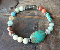 Mixed Gemstone Turquoise Stretch Bracelet