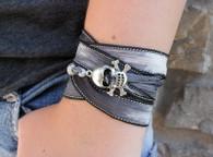 Skull Ribbon Wrap Bracelet