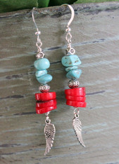 Red Bamboo and Turquoise Earrings