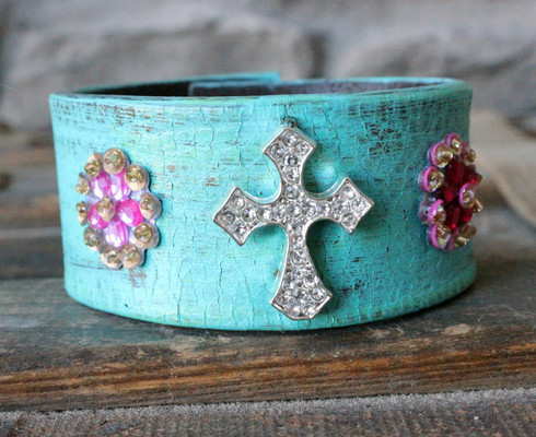 Turquoise Cross Leather Cuff