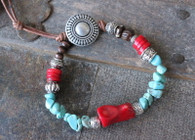 Turquoise and red coral gypsy bracelet
