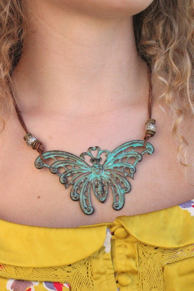 Verdigris Butterfly Statement Necklace