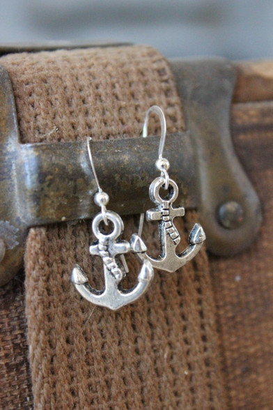 Silver Anchor Earrings by Ever Designs Jewelry