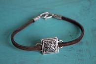 Leather Charm Bracelet - Square