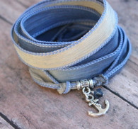 Anchor Ribbon Wrap Bracelet