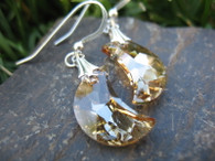 Golden Crystal Moon Earrings