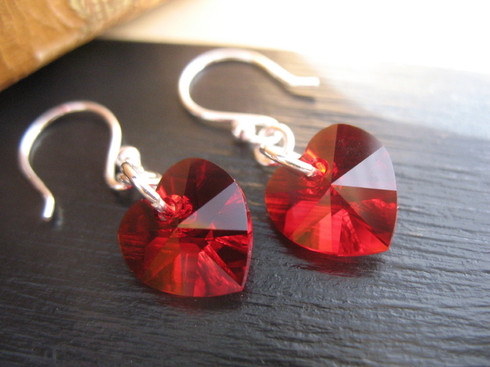 Red Swarovski Crystal Earrings - Genuine Sterling Silver, by Ever Designs Jewelry