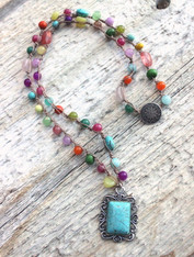 Multi-Color Bohemian Crocheted Necklace With Rectangular Turquoise Pendant