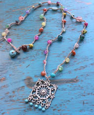 Multi-Color Bohemian Crocheted Necklace With Ethnic Pendant