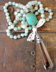 Seafoam Long Knotted Necklace