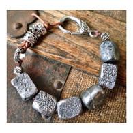 Unpolished Pyrite Bohemian Bracelet