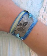 Butterfly - Silk Ribbon Wrap Bracelet